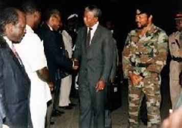 Mandela visits Ghana During the Rawlings regime.