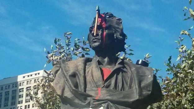Things are escalating quickly! Someone put an axe through this bust in Detroit.  *image source: DFP