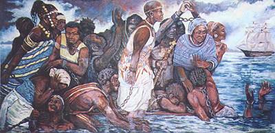 Painting depicting Ebo Landing, where slaves chose death in dignity over a life in bondage.