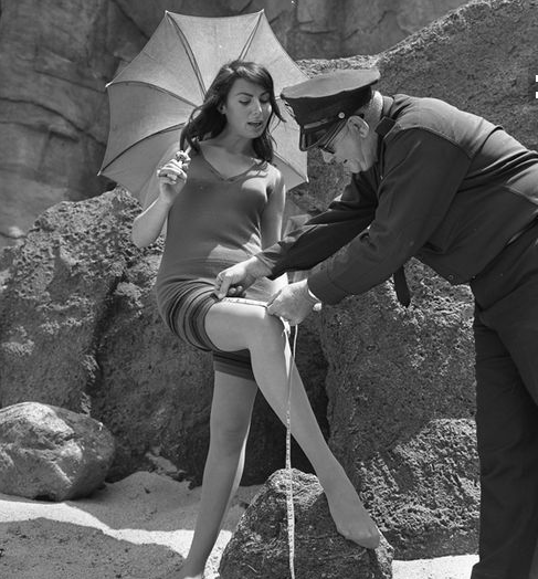 In the 1930s, women were routinely policed and arrested if their bathing suits did not comply with city ordinances. After WWII, all that extra material was needed to support the war effort (not modesty) and the bikini was born!