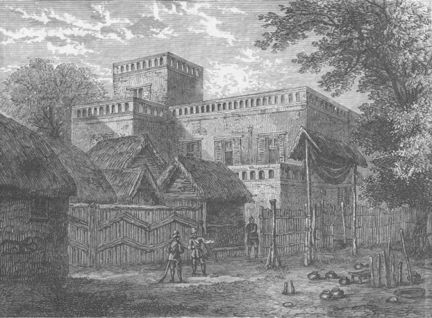 Former palace of the Asantehene before it was ransacked and burnt by the British in 1874